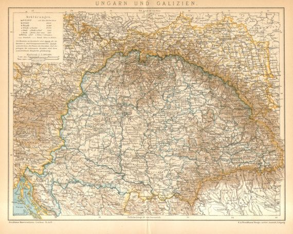1895 Original Antique Map of Hungary and by CabinetOfTreasures