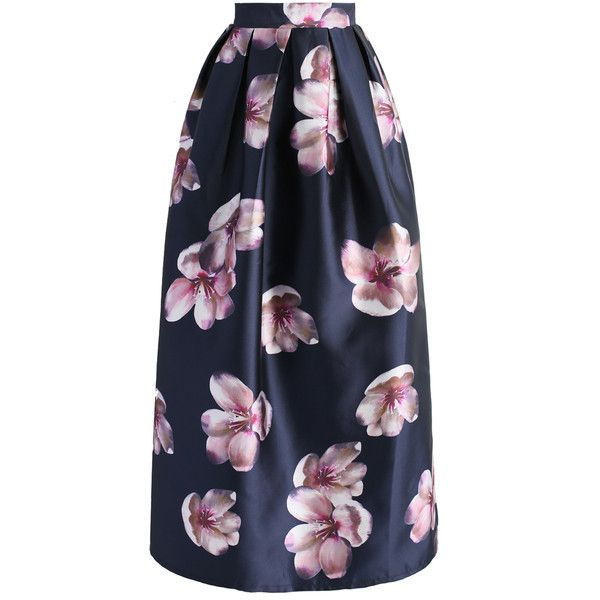 Chicwish Peach Blossom Printed Maxi Skirt in Navy (3.670 RUB) ❤ liked on Polyvore featuring skirts, blue, long blue skirt, blue maxi skirt, leather skirt, pleated skirt and navy maxi skirt