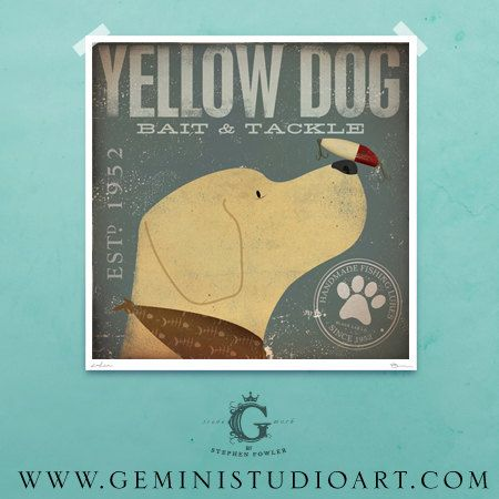 Yellow Dog Bait and Tackle Fishing company original graphic illustration giclee archival signed artists print