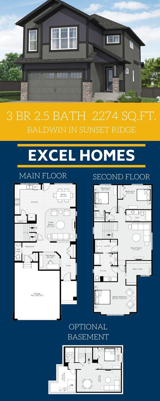 Baldwin In Sunset Ridge Cochrane New Home Build Excel Homes In 2020 Floor Plans Floor Plan Design 3 Bedroom Home Floor Plans