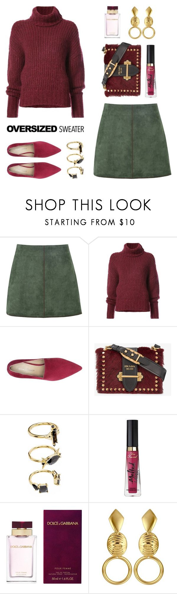 """Oversized Sweater"" by stavrolga on Polyvore featuring George J. Love, BY. Bonnie Young, Donald J Pliner, Prada, Noir Jewelry, Too Faced Cosmetics and Dolce&Gabbana"