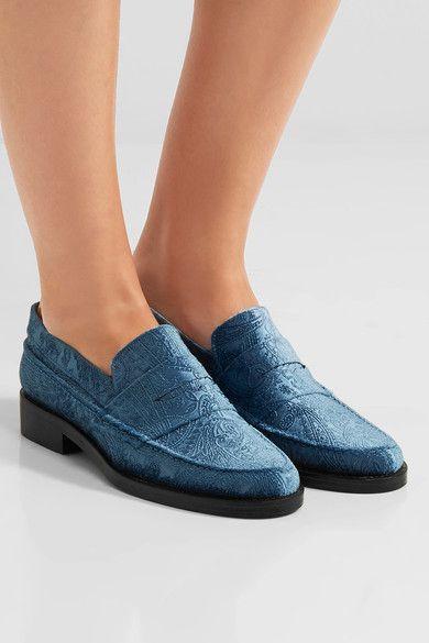 MR by Man Repeller - The Alternative To Bare Feet Embossed Velvet Loafers - Light blue - IT37