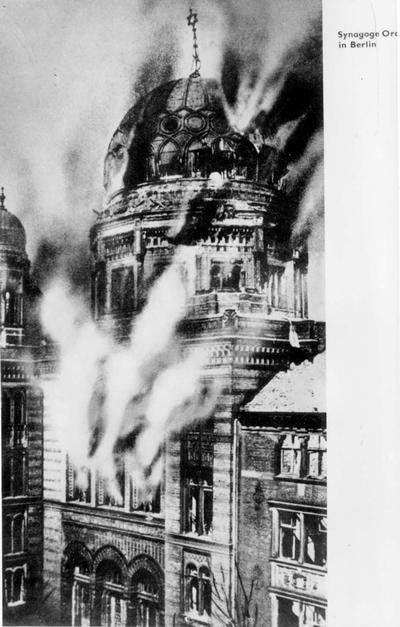 Kristallnacht, 1938 – Nazis smashed the windows of Jewish businesses, burned homes and synagogues, and left scores dead. Between 20,000 and 30,000 Jews were arrested and sent to concentration camps. (Berlin, Germany, The Oranienburg Synagogue Going Up in Flames)