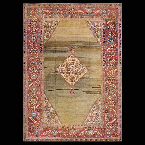 Persian Informal-Bakshaiesh  Circa: 1880  Color: Camel  Origin: Persia  Width: 9' 0'' ( 274.3 cm )  Length: 12' 6'' ( 381 cm )Stock Id: #18242  #antique #rug #nyc #persian #bakshaiesh