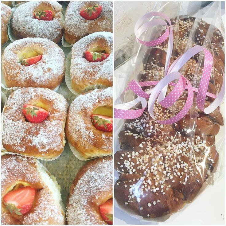 Vaniljsprängda bullar med färska jordgubbar och en kanelkrans!