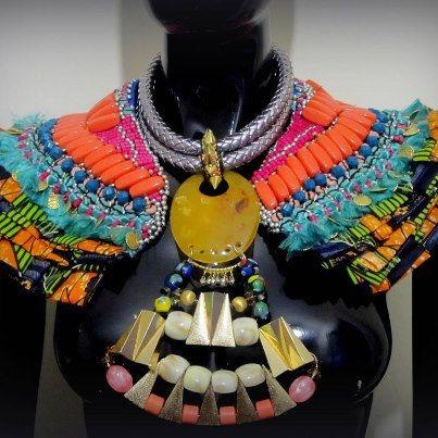 Mixed media Shoulder piece and chunky necklace makes a bold and colourful statement with this ensemble from Anita Quansah.