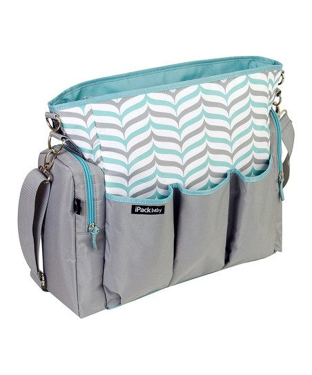 Teal & Gray Chevron Diaper Bag