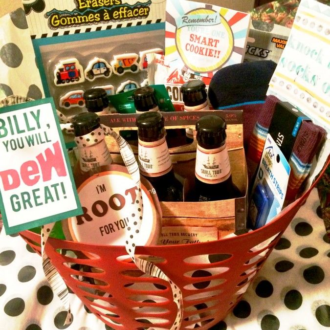 "Good Luck on Test Gift Basket, knock the socks off this test, you will dew great printable, I'm ""rooting"" for you printable, good luck basket, care package"