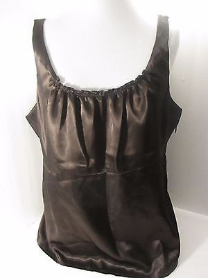 Nine West Brown Cami Size 4 Suit Polyester Ruffled Scoop Neck Pull Over
