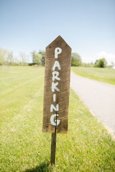 Parking sign- important detail to have at a wedding! Photo by Katelyn James Photography, see more at http://theeverylastdetail.com/rustic-eclectic-backyard-maryland-wedding/
