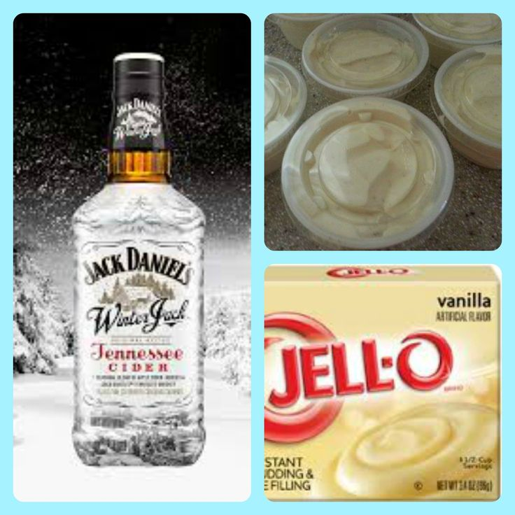 Winter Jack Pudding Shots  1 small Pkg. vanilla instant pudding ¾ Cup Milk 3/4 Cup Winter Jack , Jack Daniel's Tennessee Whiskey 8oz tub Cool Whip  Directions 1. Whisk together the milk, liquor, and instant pudding mix in a bowl until combined. 2. Add cool whip a little at a time with whisk. 3.Spoon the pudding mixture into shot glasses, disposable shot cups or 1 or 2 ounce cups with lids. Place in freezer for at least 2 hours