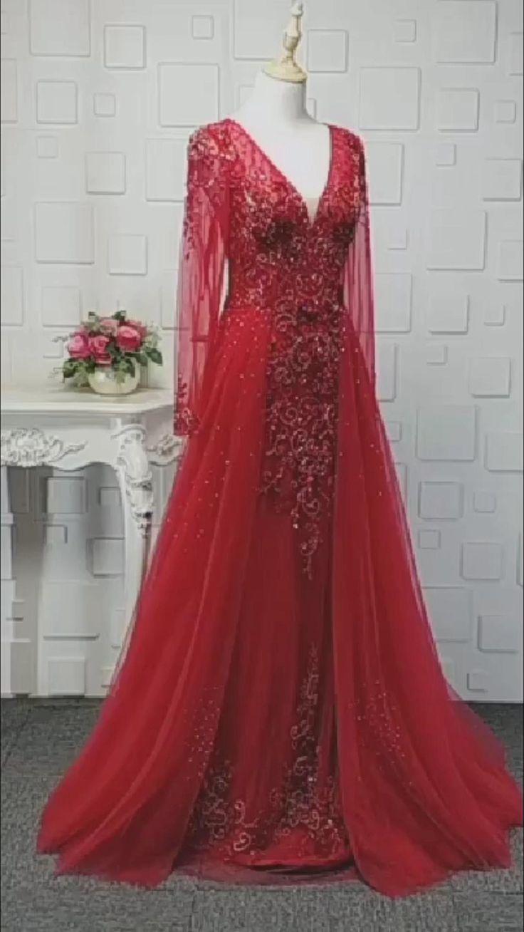robe de soiree manche longue rouge rotes