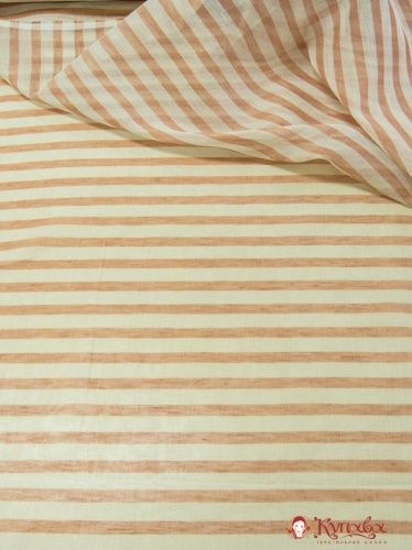 Полулен декоративный Вуаль молочно-терракотовые полосы 2.37 м , лен 63%, хлопок 37%