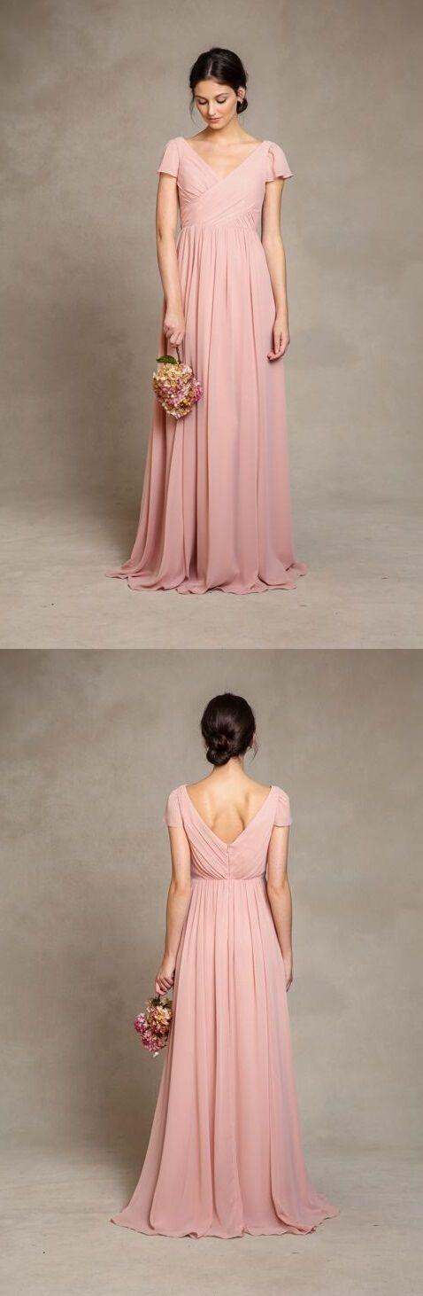 Beautiful Pink Short Sleeved Long Pink Chiffon Bridesmaid Dress