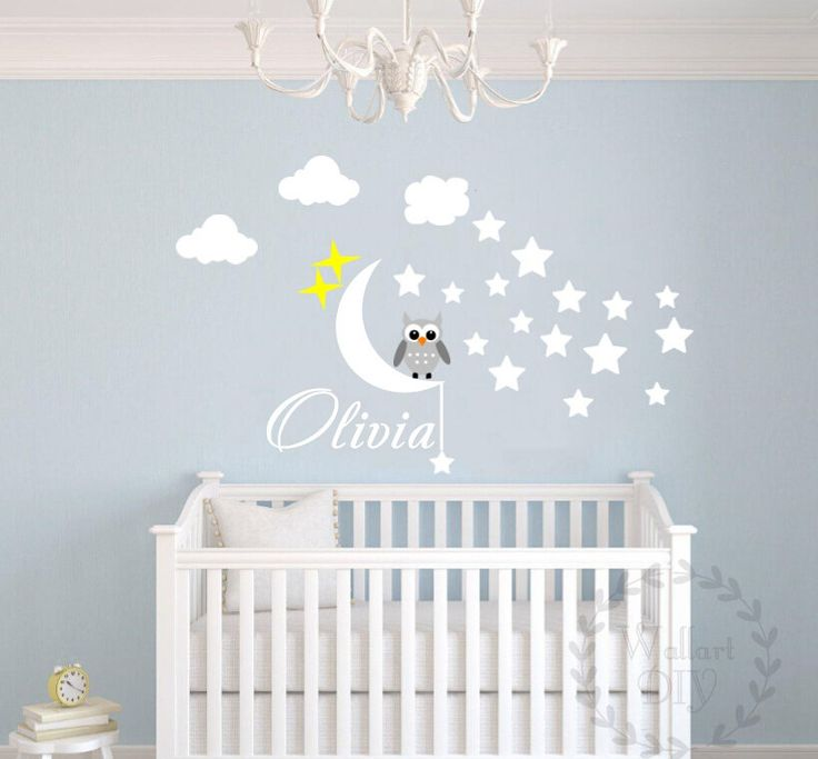 Nursery wall decal Owl wall decal Name wall decal Owl and name wall sticker Moon and stars wall decal Kid's name wall sticker by WallArtDIY on Etsy https://www.etsy.com/listing/206830260/nursery-wall-decal-owl-wall-decal-name
