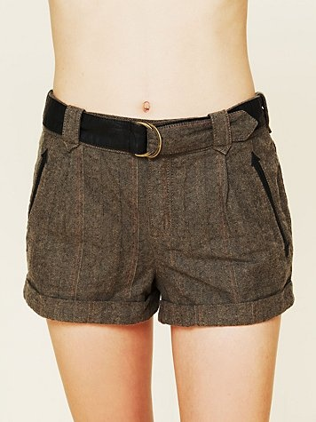 Menswear Belted Tweed Shorts