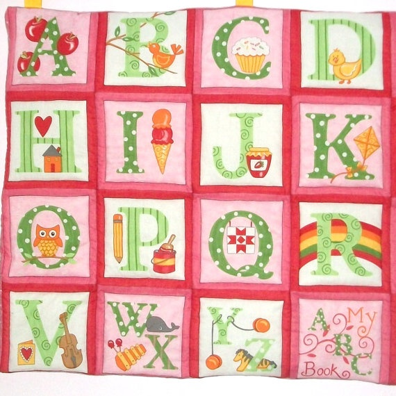 ABC pink quilted alphabet wall hanging/ playmat
