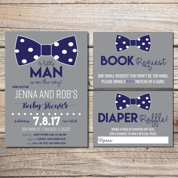 Little Man Baby Shower Invitation, Boy Baby Shower, Bowtie Baby Shower,  Invitations,