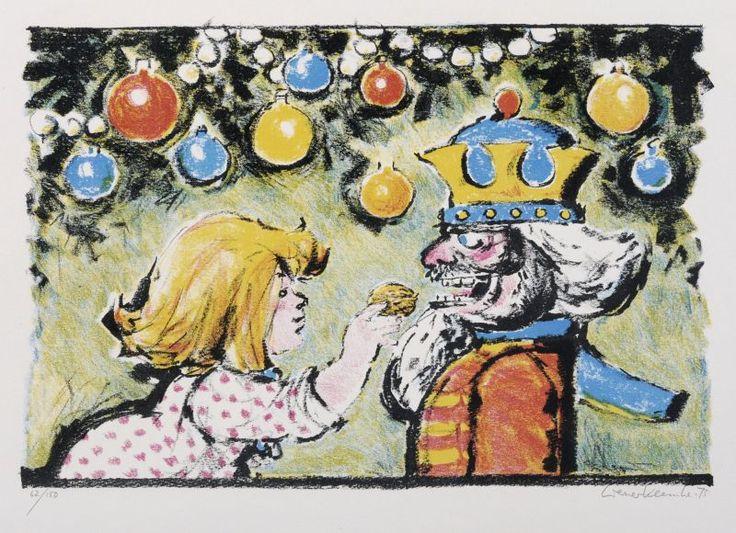 Werner Klemke – Mädchen und Nußknacker, 1975, Lithograph in colours auf Karton