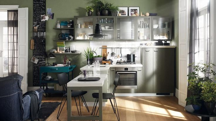 Kitchen:Modern One Wall Kitchen Design Shelves And Kitchen Cabinets Ideas Omplete With Kitchen Stove Also Faucets And The Sink Also Dining Table And Dining Chairs Also Chandelier And Large Windows Also Laminate Flooring Charming & Modern Kitchens for Extensive and Small Areas