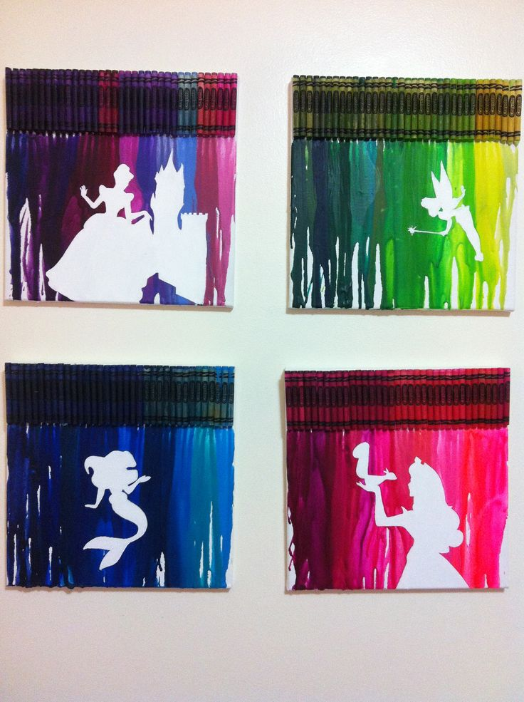 "Melted crayon art. My daughter loves princesses, but I didn't want her room too ""Disney-ish"" so I googled ""princess silhouettes"" and printed the pictures from my printer. I took the printed image and cut it out of contact paper. Next, on the canvases, I stuck down the image, hot glued the crayons to the top and melted the crayons all the way to the bottom, peeled off the contact paper and was left with the silhouette. I had to touch up some edges with white paint, but they turned out well."