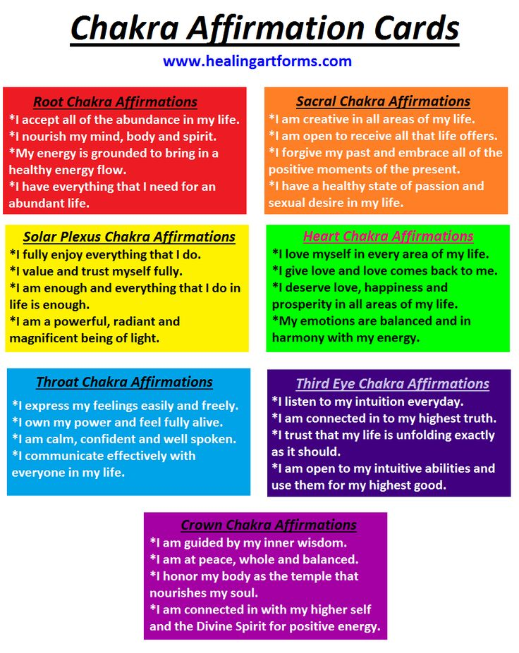 #CHAKRA AFFIRMATION CARDS Print these out to use for your own chakra affirmation healing. For beginners work with them and focus on your chakra point and intention for healing three times a day. You can use mantra bead bracelet to help you keep track.