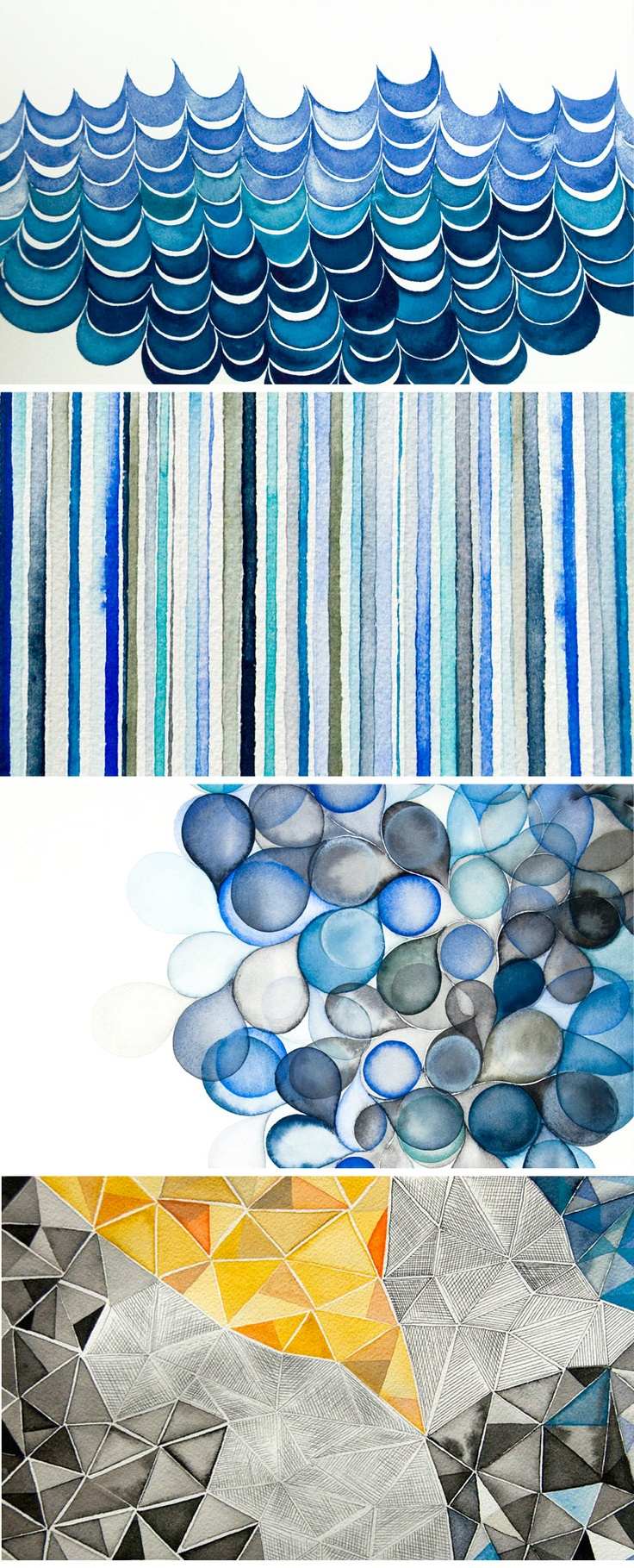 Love these geometric watercolor pieces by Serena Mitnik-Miller (via the fab mr. bazaar http://brightbazaar.blogspot.com/2012/08/serena-mitnik-miller-watercolours.html)