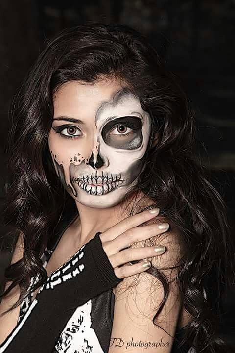 Half skeleton face face painting