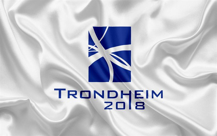 Download wallpapers Trondheim 2018, emblem, logo, Winter paralympics 2018, Norway, XII Paralympic Winter Games
