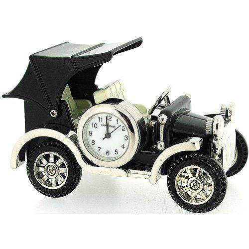 Miniature Vintage Car Novelty Polished Black Metal Tone Collectors Clock 9707
