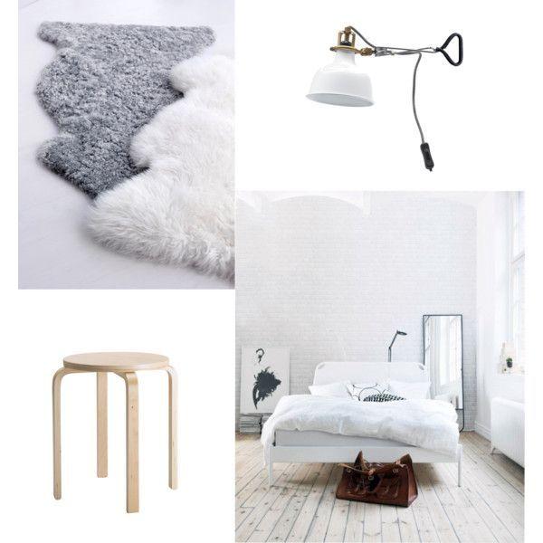 #myIKEAbedroom 1.LUDDE Schapenvacht - IKEA Veschillende texturen zorgen voor warmte en gezelligheid. 2.RANARP Wand-/klemspot - IKEA. De geelkoperen kleur zorgt voor een luxe detial in in kamer die overwegend wit is. 3. FROSTA Kruk - IKEA 4.DUKEN Bedframe.