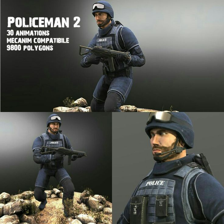 Animated model with 9800 polygons, 30 animations and 70 bones. https://www.3dmodels-textures.com/policeman2