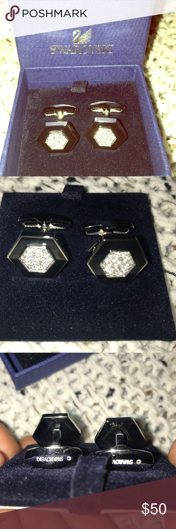 NEVER WORN Swarovski hexagon cufflinks Swarovski hexagon crystal cufflinks with black perimeter. All original packaging. **no trades please. Purchase only. Feel free to make an offer. My closet needs to sell fast!** Thank you!! Swarovski Accessories Cuff Links