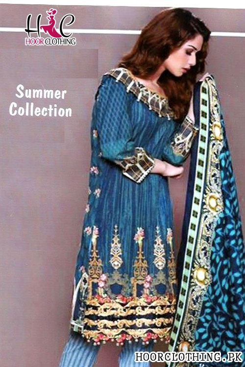 84961cf55c Zinc Color Women Summer Collection Lawn Suit With Chiffon Dopatta Color:  Zinc, Teal Embroidered Galla Printed Lawn Front Printed Lawn Back Printed  Lawn ...