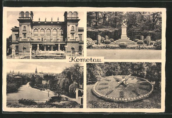 old postcard: AK Komotau / Chomutov, Blumenuhr, Denkmal, Städtische Parksäle