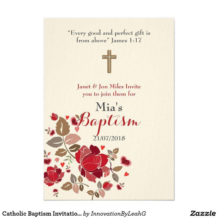 155 best baptism christening invitations personalized images on catholic baptism invitation burgundy floral stopboris Image collections