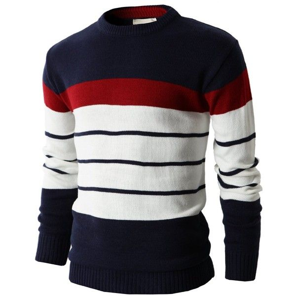 H2H Mens Casual Cotton Striped Slim Fit Pullover Sweater of Various... (25620 IQD) ❤ liked on Polyvore featuring men's fashion, men's clothing, men's sweaters, men, mens striped sweater, mens cotton sweaters, mens sweaters and mens slim fit sweater