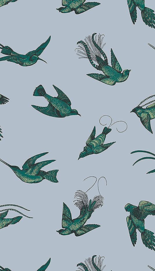 Tropical Birds Wallpaper Vintage 1950's exotic birds design by Una Lindsey. The print has been re-coloured in contemporary colours. Metallic gold and emerald green print on a sky blue background.