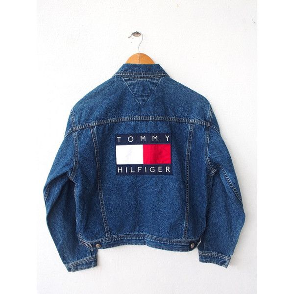 Vintage 90's TOMMY Hilfiger Big Logo 80's Hip Hop Embroidery Women... (235 CAD) ❤ liked on Polyvore featuring outerwear, jackets, denim jacket, 80s jean jacket, checkered jacket, vintage jean jacket, logo jackets and blue jackets