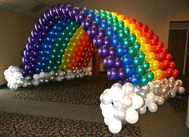 rainbow balloons... WOW what an entrance my Nao would make on her special day.