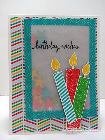 Deb's vellum shaker card with Build a Birthday, Cherry on Top dsp stack & washi tape, Itty Bitty Accents stars punch, & more - all from Stampin' Up!