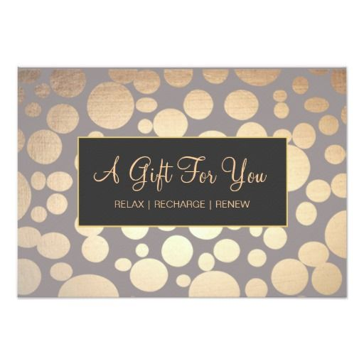 Faux Gold And Taupe Spa And Salon Gift Certificate 3.5x5 Paper Invitation  Card
