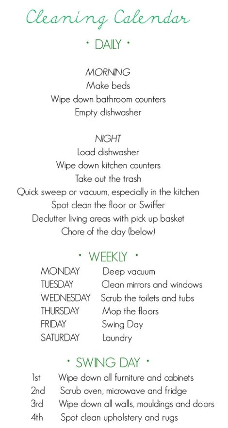 cleaning schedule: Idea, Cleaning Lists, Cleaning Chart, Cleaning Schedules, Weekly Cleaning, Clean House, Cleaning Tips