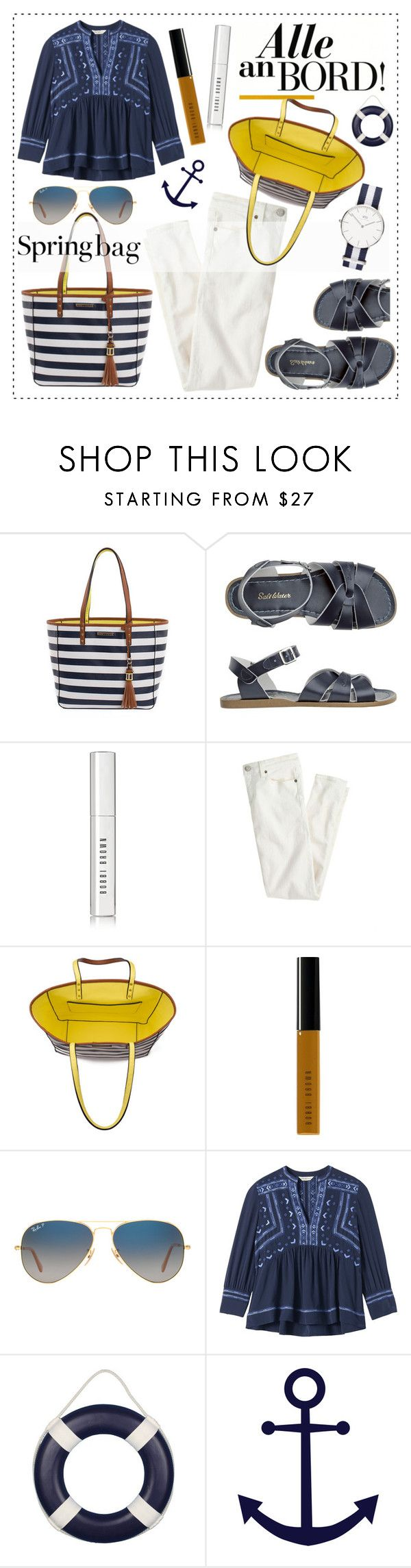 """""""Spring Bag Poppy & Peonies"""" by alaria ❤ liked on Polyvore featuring Toast, Bobbi Brown Cosmetics, J.Crew, Ray-Ban, Rebecca Taylor, nauticalstyle, totebags and springbag"""