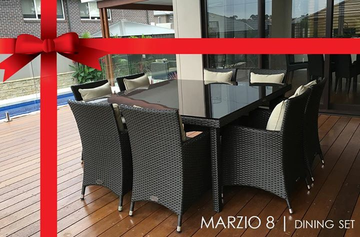 MARZIO 8 - 9 PIECE OUTDOOR DINING SETTINGSturdiness, clean lines and comfort are the key features of this beautiful Marzio 8, which complements any sort of lifestyle and features large comfy chairs. For smaller or bigger arrangements check out, Marzio 10 and Marzio 12