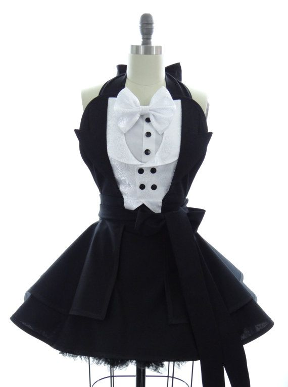 Retro Apron - The Penguin Sexy Womans Aprons - Vintage Apron Style - Tuxedo Pin up Gotham Villian Rockabilly Cosplay