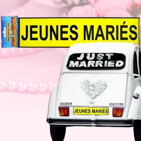 Plaque magnétique Jeunes Mariés #mariage #voituremariage #jeunesmaries #fête