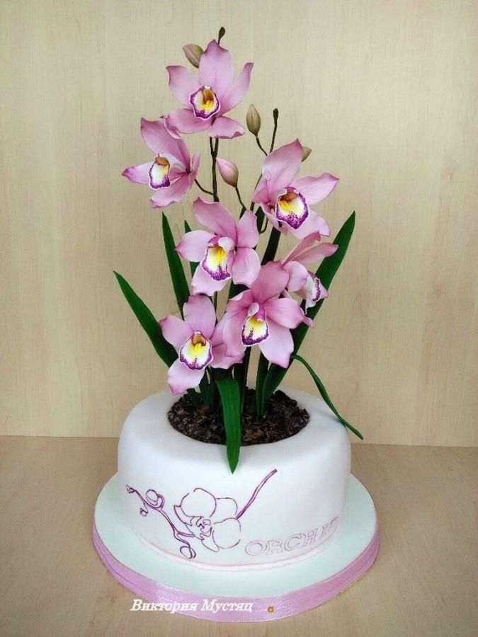 Cake sugar orchid in a flowerpot - Cake by Victoria