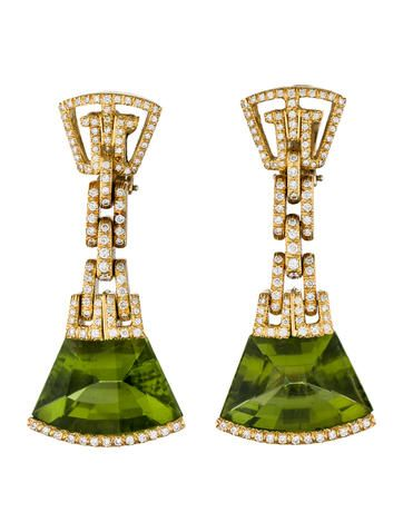 Henry Dunay Hinged Peridot & Diamond Earrings