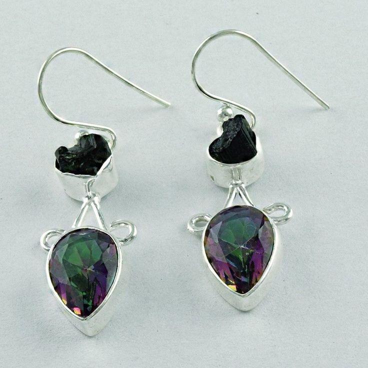 925 Sterling Silver Earrings In Mystic Topaz Tourmaline Handmade